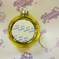 Шарик елочный  d= 80 мм (вставка под субл d51мм) золото