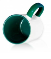 Кружка цветная внутри + цветная ручка  (ТЕМНО-ЗЕЛЕНАЯ)