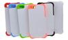 """Чехол пластиковый IPhone 4/4S """"белый"""" пр/ударный с ЦВЕТНЫМ силиконовым бампером (для вакуумной машины)"""