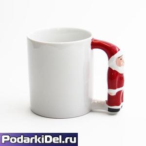 """Кружка белая с ручкой """"Санта-Клаус"""""""