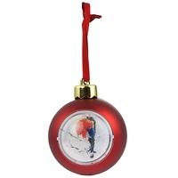 Шар-шкатулка (красный) со снежными хлопьями с сублимационной пластиной