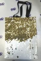 Сумка с пойетками белая/золотая 40х32 см