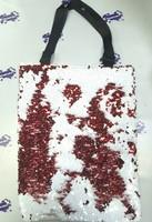 Сумка с пойетками белая/красная 40х32 см