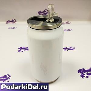 Банка для газировки алюминевая с серебристой крышкой 350мл