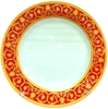 Тарелка белая d-20см каемка с рисунком (КРАСНО-ЗОЛОТОЙ РИСУНОК)