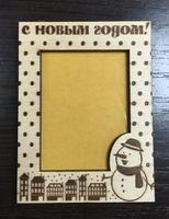 """Деревянный магнит """"Снеговик"""" (60*80мм)"""
