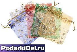 Мешочек для подарков 10х14см (цвета в ассортименте)