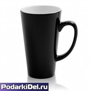 """Кружка  ХАМЕЛЕОН """"ЛАТТЕ"""" черная (высокая)"""
