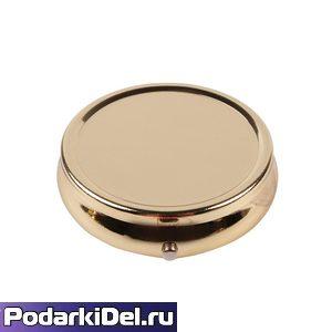 Таблетница (шкатулка для пилюль и таблеток)+ линза  круглая 5см без зеркала Золото под полиграфию